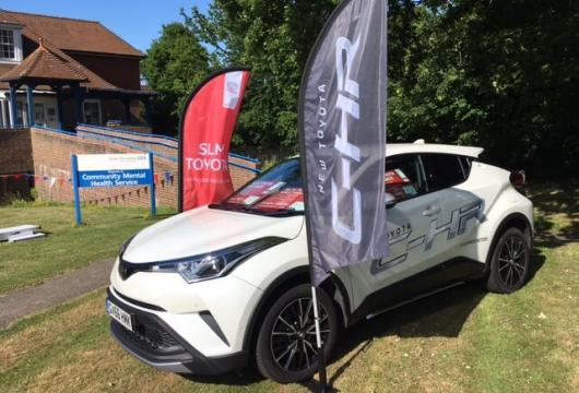 SLM display Toyota C-HR at Bexhill hospital garden party event